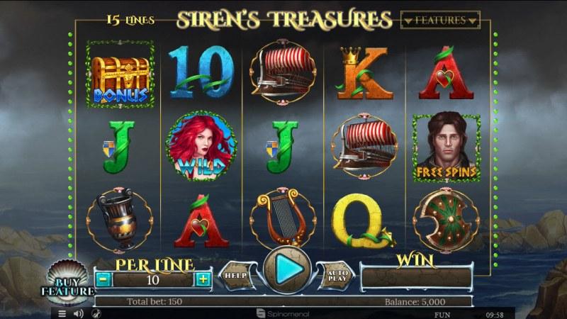 Sirens Treasures 15 Lines :: Main Game Board