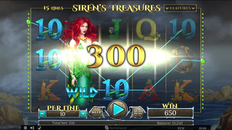Sirens Treasures 15 Lines :: Respin feature leads to multiple winning paylines