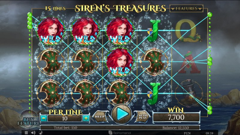 Sirens Treasures 15 Lines :: Multiple winning combinations leads to a big win