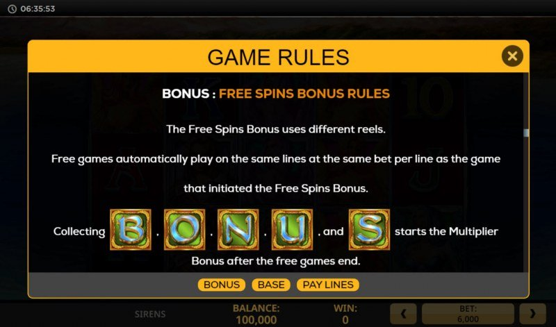 Sirens :: Free Spin Feature Rules
