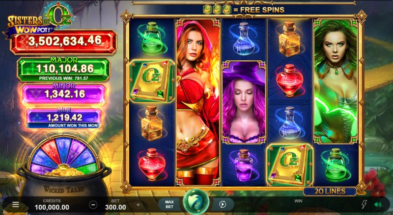 Sisters of Oz Jackpots :: Main Game Board