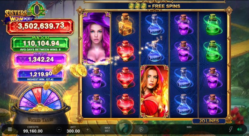 Sisters of Oz Jackpots :: Collect gold coin symbols for a chance to spin the jackpot wheel