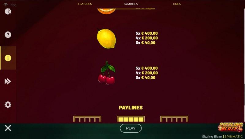 Sizzling Blaze :: Paytable - Low Value Symbols
