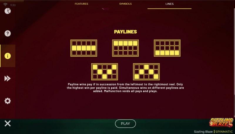 Sizzling Blaze :: Paylines 1-5