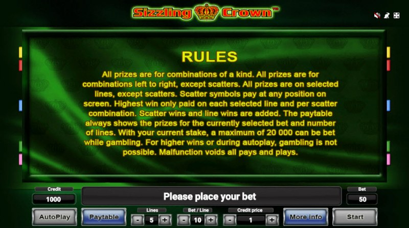 Sizzling Crown :: General Game Rules