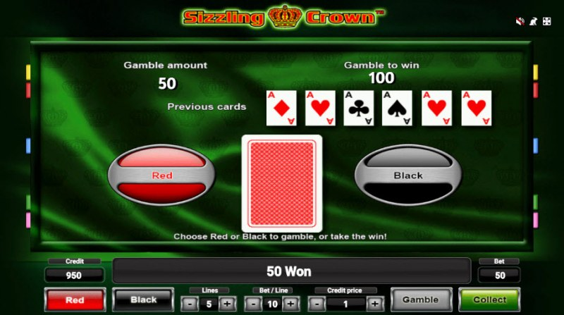 Sizzling Crown :: Red or Black Gamble Feature