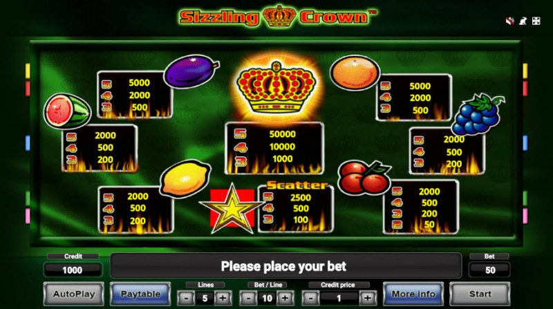 Sizzling Crown :: Paytable