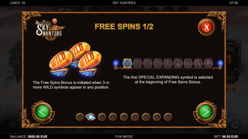 Sky Hunters :: Free Spins Rules