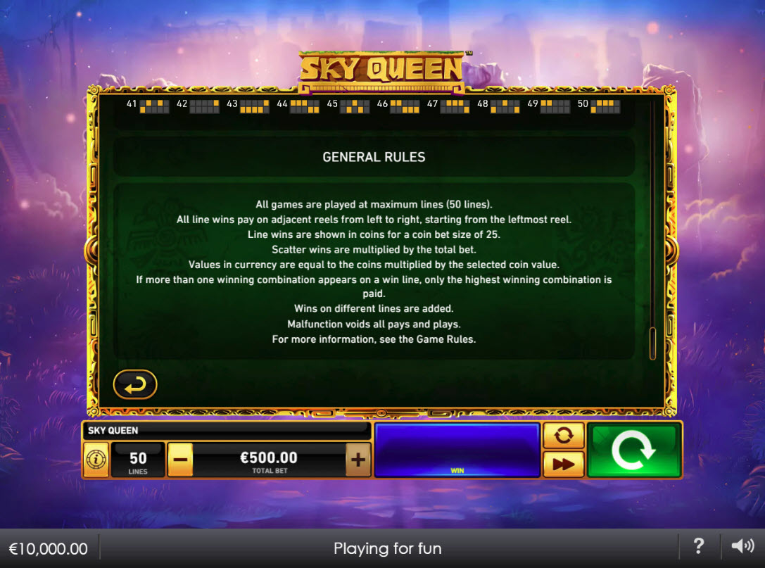 Play slots at Casino Plex: Casino Plex featuring the Video Slots Sky Queen with a maximum payout of $1,000,000