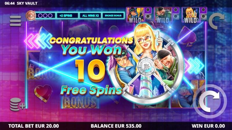 Sky Vault :: 10 free spins awarded