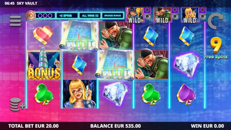Sky Vault :: Free Spins Game Board