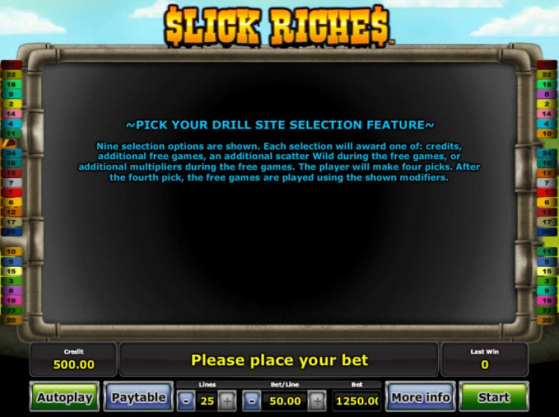 Slick Riches :: Free Spins Rules
