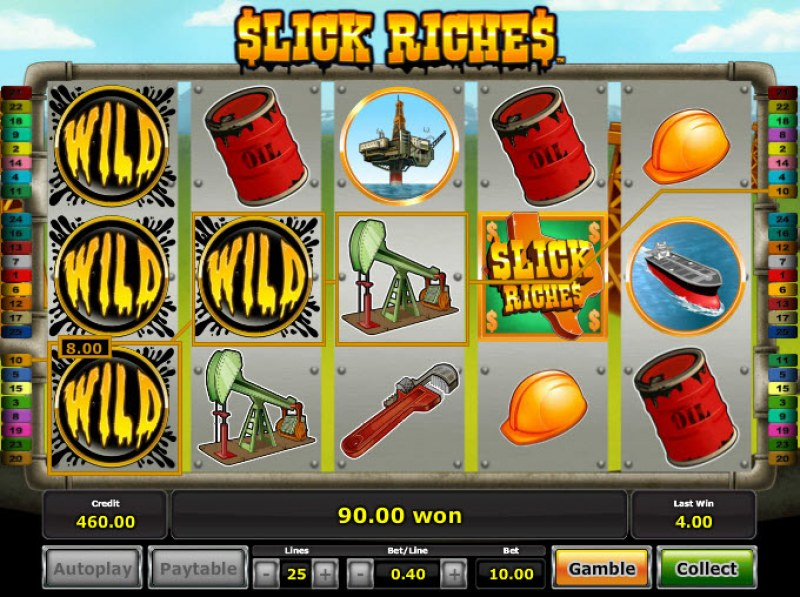 Slick Riches :: Stacked wilds trigger multiple winning lines
