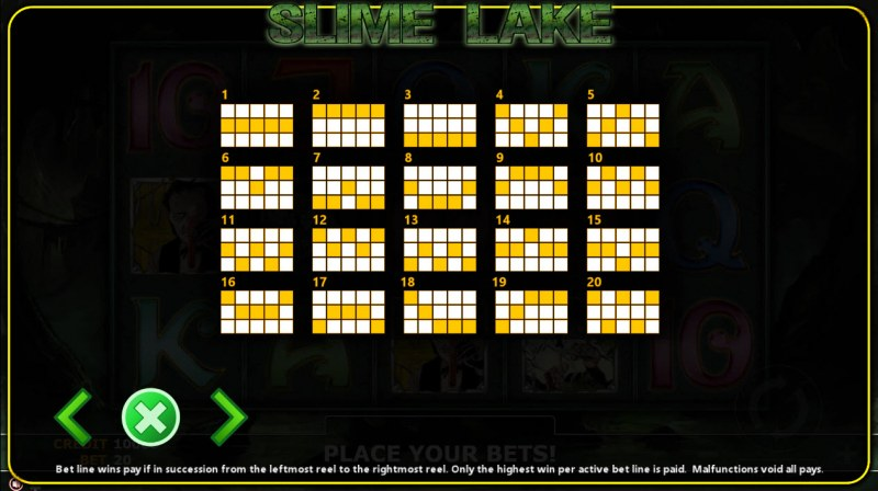 Slime Lake :: Paylines 1-20