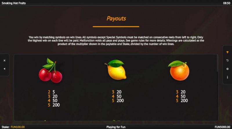 Smoking Hot Fruits :: Paytable - Low Value Symbols