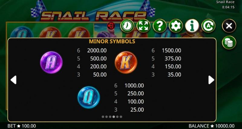 Snail Race :: Paytable - Low Value Symbols