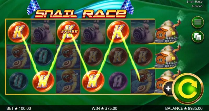Snail Race :: A five of a kind win