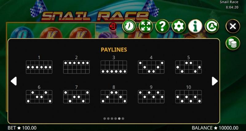 Snail Race :: Paylines 1-10