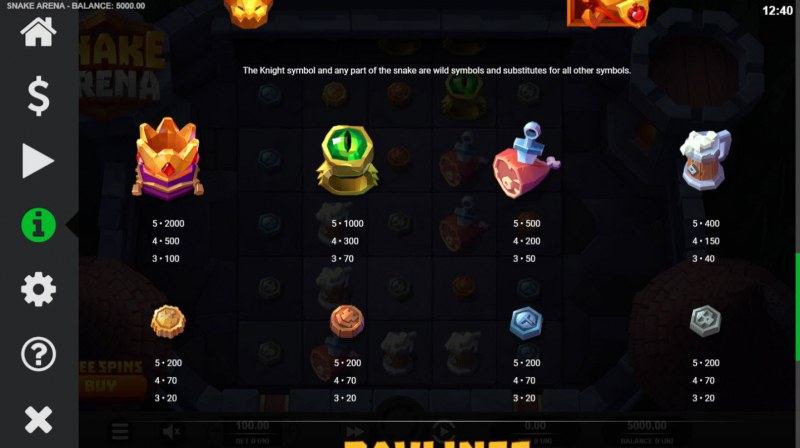 Snake Arena :: Paytable