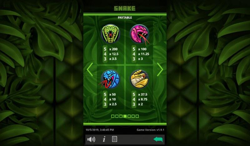Snake :: Paytable - High Value Symbols