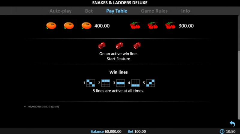 Snakes & Ladders Deluxe :: Paylines 1-5