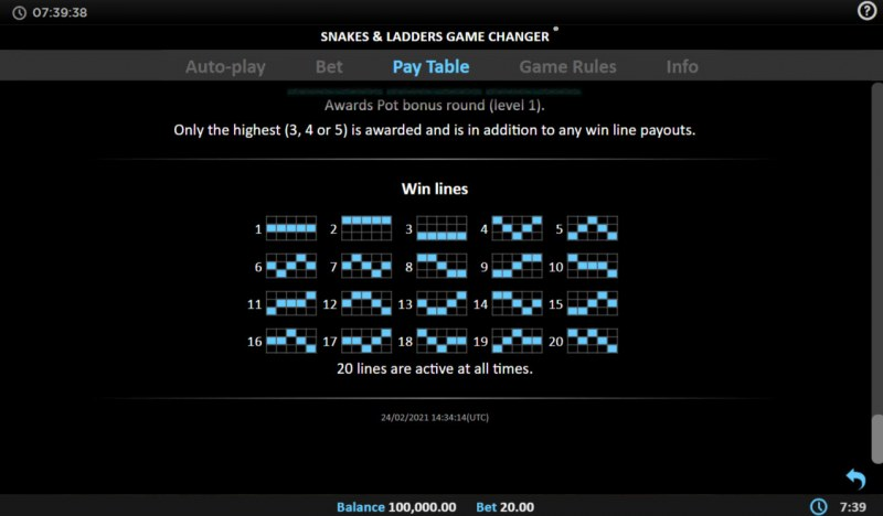 Snakes & Ladders Game Changer :: Paylines 1-20
