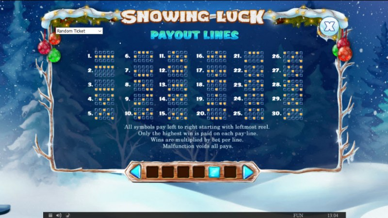 Snowing Luck Christmas Edition :: Paylines 1-30