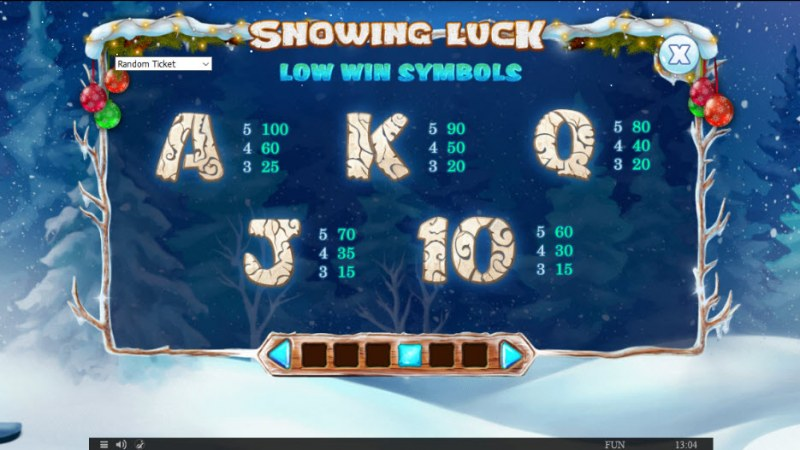 Snowing Luck Christmas Edition :: Paytable - Low Value Symbols