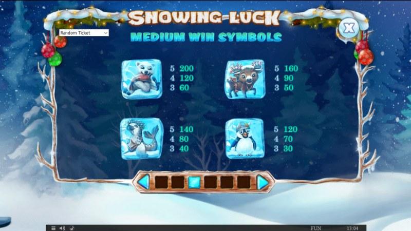 Snowing Luck Christmas Edition :: Paytable - Medium Value Symbols