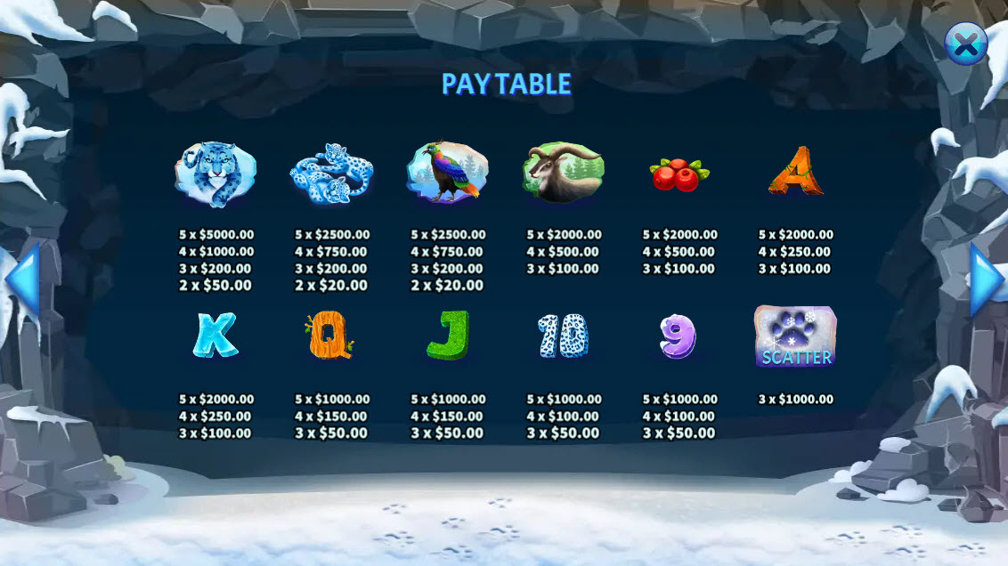 Snowy Leopards :: Paytable
