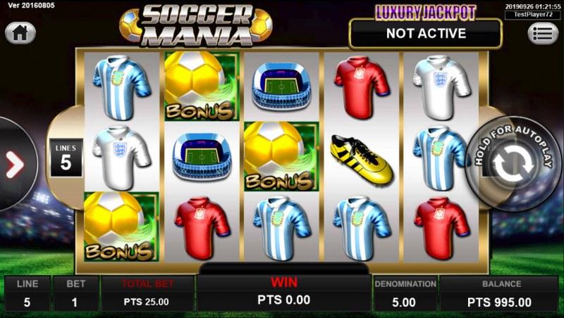 Soccer Mania :: Scatter symbols triggers bonus feature