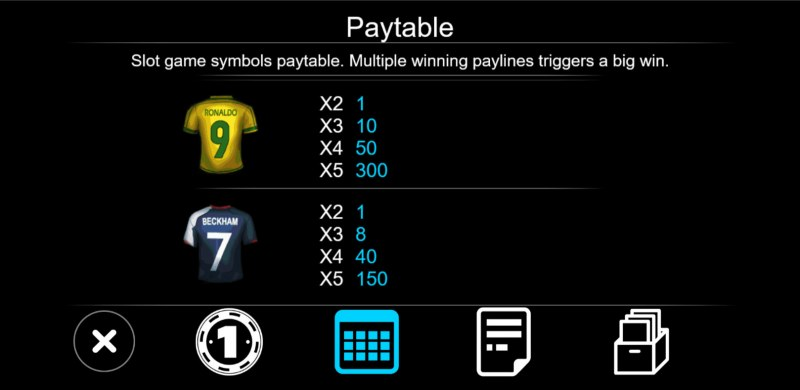 Soccer :: Paytable - Low Value Symbols