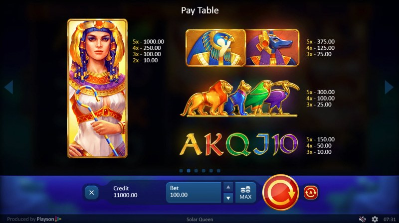 Solar Queen :: Paytable