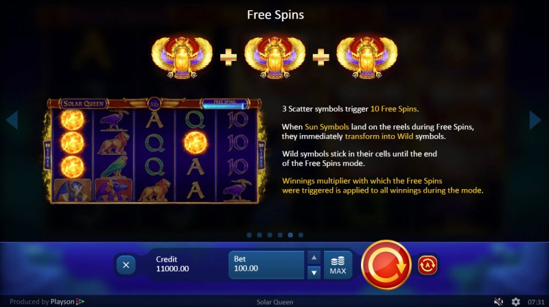 Solar Queen :: Free Spins Rules