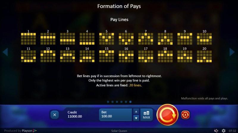 Solar Queen :: Paylines 1-20