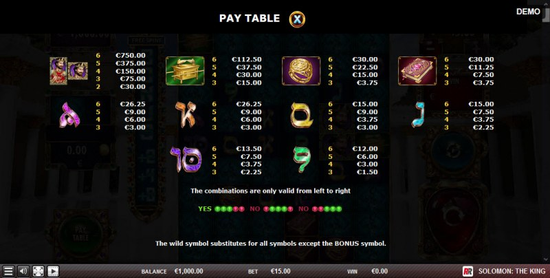 Solomon The King :: Paytable