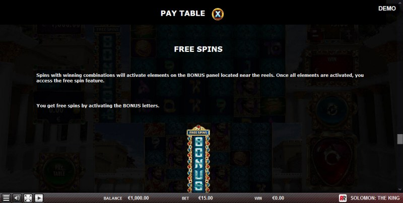 Solomon The King :: Free Spins Rules