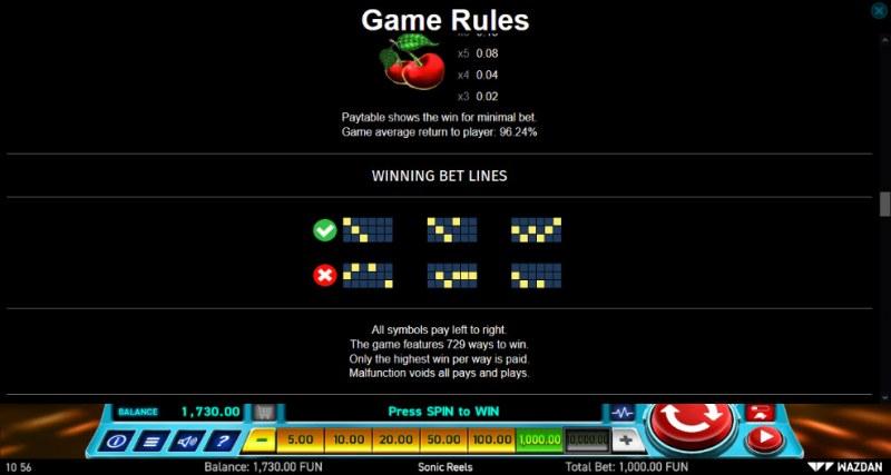 Sonic Reels :: 729 Ways to Win