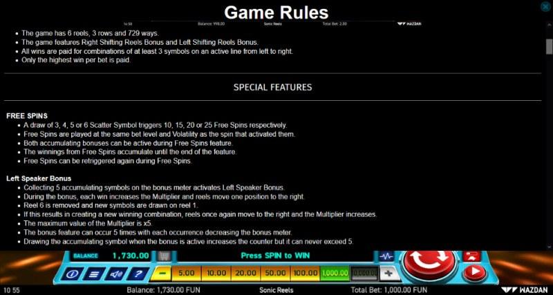 Sonic Reels :: General Game Rules
