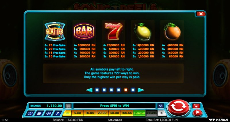Sonic Reels :: Paytable - High Value Symbols