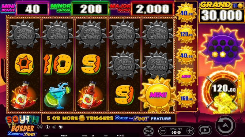 South of the Border Loaded with Loot :: Collect money symbols until no more appear on the reels
