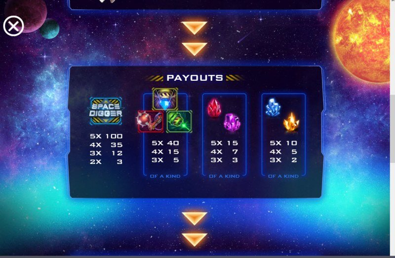 Space Digger :: Paytable