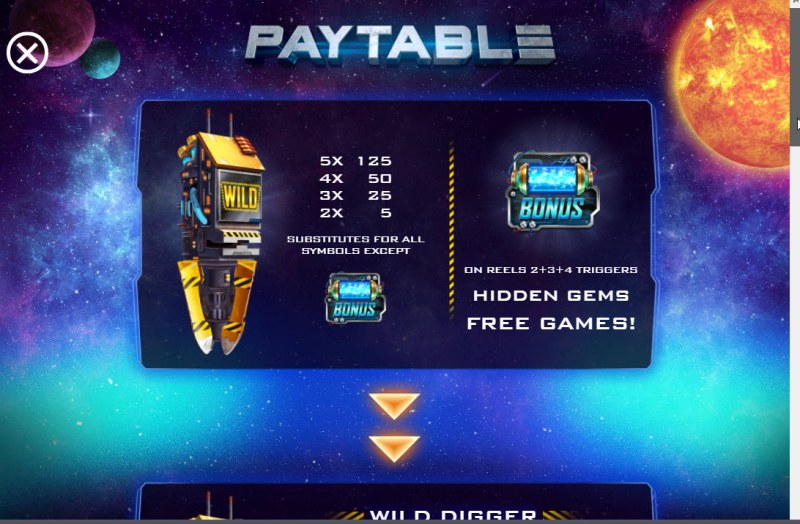 Space Digger :: Wild and Scatter Rules