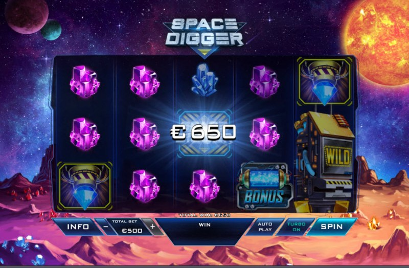 Space Digger :: A four of a kind win