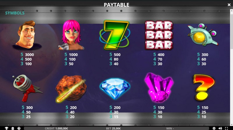 Space Mission :: Paytable