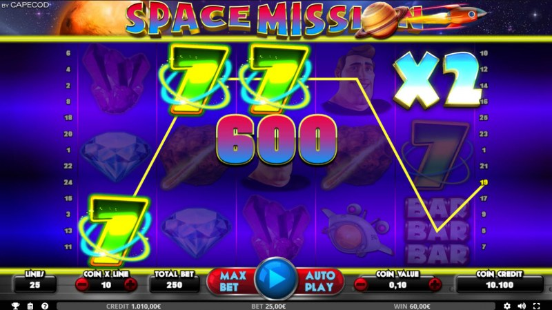 Space Mission :: Mystery Symbol awards an x2 win multiplier