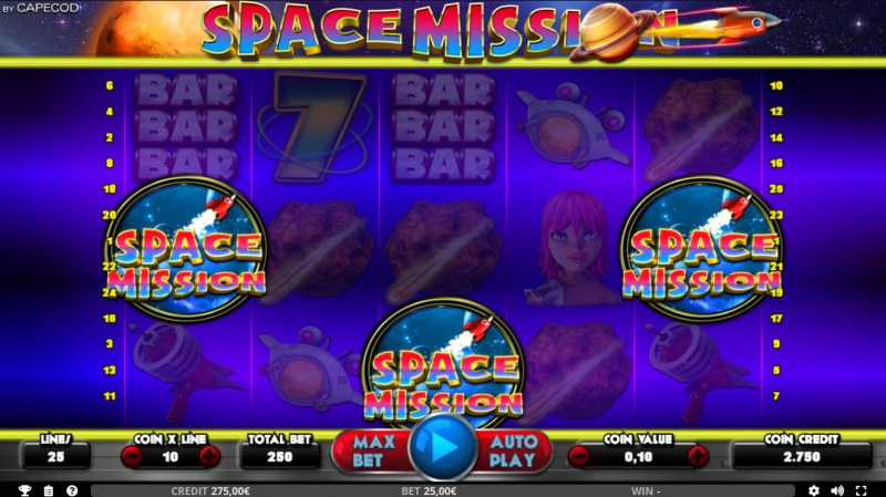 Space Mission :: Scatter symbols triggers bonus feature