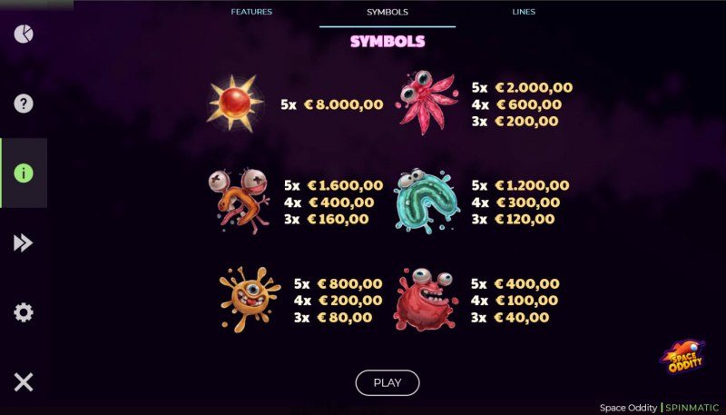 Space Oddity :: Paytable - High Value Symbols