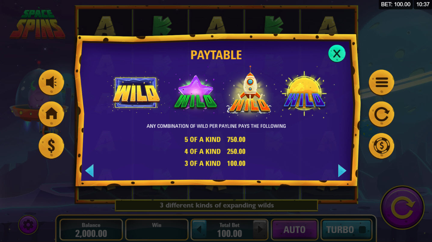 Play slots at River Belle: River Belle featuring the Video Slots Space Spins with a maximum payout of $30,000