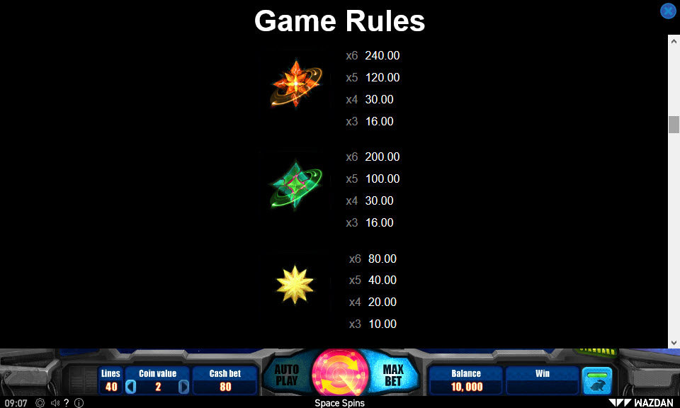 Space Spins :: Paytable - Medium Value Symbols